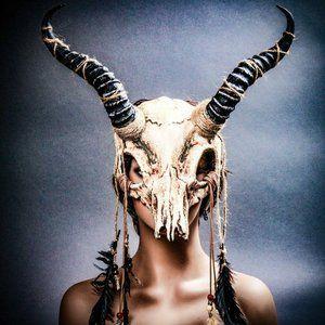 Antelope Devil Animal Skull w/ Impala Horns Mask